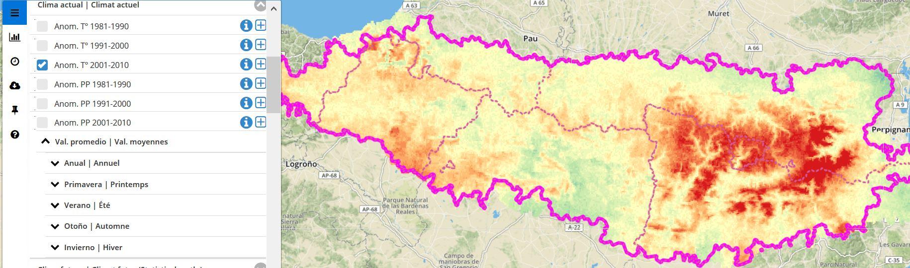 Anomalia de temperaturas en los Pirineos entre 2001 y 2010